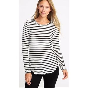 Old Navy Luxe White LS Shirt Black Stripes